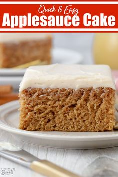 A simple and cozy Applesauce Cake filled with warm spices and applesauce. Top with cinnamon cream cheese frosting, powdered sugar, or honey.