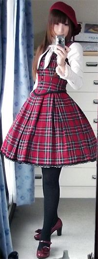 Red plaid - Classic Lolita jumperskirt and blouse by Mary Magdalene