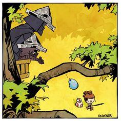 Darth, Rey and Kylo (Calvin and Hobbes and Star Wars mashup) - by Brian Kesinger