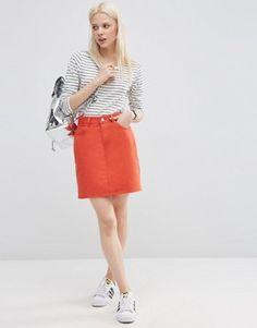 ASOS Denim Original High Waisted Skirt in Coral Red