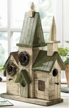"My Girlfriend Alli Jean bought me this birdhouse for Christmas a couple of years ago & I Love it (& the birds do too). Church like the shape with the different ""rooms"" to create this church Bird House Feeder, Bird Feeders, Bird Boxes, Fairy Houses, Little Houses, Bird Cage, Home Accents, Decoration, Outdoor Decor"