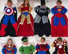 Superhero Crochet Blanket PATTERNS Bundle: Batman, Wonder Woman, Spiderman, Superman, Supergirl, The Hulk, Ironman, and Captain America
