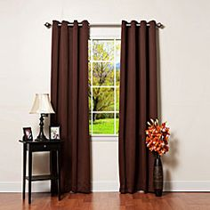 @Overstock - Update your space with these thermal grommet top curtains with blackout capabilities. These lovelies are available in a host of color options and feature modern grommets in an antique bronze finish. They allow you to control the privacy in your home.http://www.overstock.com/Home-Garden/Solid-Grommet-Top-Thermal-Insulated-108-inch-Blackout-Curtains/4583419/product.html?CID=214117 $90.29