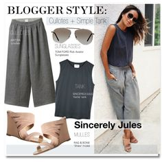 Blogger Style- Cullotes + Simple Tank by kusja on Polyvore featuring moda, Wilfred, rag & bone, Tom Ford, StreetStyle, BloggerStyle, sincerelyjules and cullotes