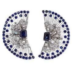 Lace Diamond Sapphire Crescent Ear Clips | From a unique collection of vintage clip-on earrings at https://www.1stdibs.com/jewelry/earrings/clip-on-earrings/