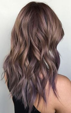 ash bronde and lilac tipped ombre hair color: Perfect Hair Color, Hair Color And Cut, Ombre Hair Color, Brown Hair Colors, Hair Colours, Brown Hair Purple Ends, Brown Hair With Blue, Brown Hair With Purple Highlights, Subtle Purple Hair