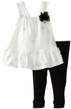 Nicole Miller Baby-girls Infant Sleeveless Printed Tunic and Legging 2 Piece Set, Vanilla Ice, 12 Months
