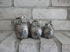 Vintage Mirror Owls  Ornate Owl Statue  Silver by SeaGreenSeeBlue