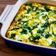 Low-Carb Breakfast Casserole Recipe with Spinach, Leeks, Cottage Cheese, and Goat Cheese; this is easy and delicious.  Make on the weekend and re-heat for lunch all week. [from KalynsKitchen.com] #DeliciouslyHealthyLowCarb
