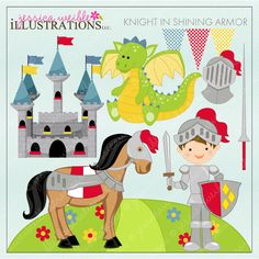 Knight in Shining Armor Clipart includes 10 adorable graphics for birthday invitations, stationery and crafts.