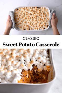 Thanksgiving Sweet Potato Recipes, Holiday Recipes, Vegan Thanksgiving, Sweet Potatoes With Marshmallows, Mini Marshmallows, Sweet Potato Caserole, Sweet Potatoe Casserole Recipes, Sweet Potato Dishes, Vegetarian Food