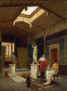 A Pompeian interior, painting  by Luigi Bazzani, 1882
