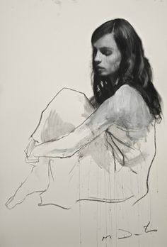 Natalie seated 5, pastel & collage, 32ins x 46ins. | Mark Demsteader | mark demsteader