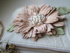 Ivory white leather flower purse art.200 by meudeus on Etsy, $225.00