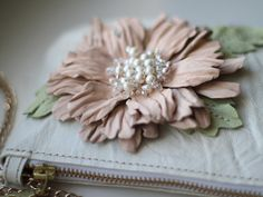 Ivory white leather flower purse art.200 by meudeus on Etsy, $225.00