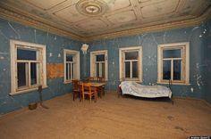100 volando: Viejas casas rusas abandonadas