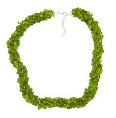 Pearlz Ocean Sterling Silver Peridot Chips Necklace