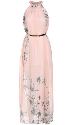 Pink Halter Floral Chiffon Maxi Dress