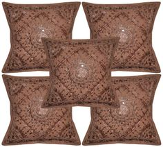 """Indian Cotton Embroidered Pillow Cases Cover Mirror Cushion Covers 5ps Set 16"""" #LalHaveli"""