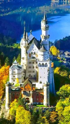 Neuschwanstein Castle, Germany       Neuschwanstein Castle is a nineteenth-century Romanesque Revival palace on a rugged hill above the vi...