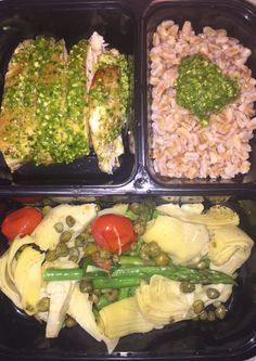 Week 6 Lunch Option: Tuscan Chicken Chicken: Olive oil, salt, pepper FarroVegetable Saute: Canned artichokes, Capers, Tomatoes, Blanched Asparagus, Salt, PepperGarnishes: Pesto, Balsamic Vinaigrette if you please