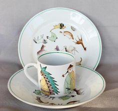 Vtg-Arabia-Finland-Childs-China-Set-Parade-of-Animals-People-Plate-Bowl-Cup