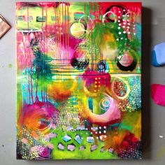 Belinda Fireman - loved the vibrant colors on this mixed media canvas!
