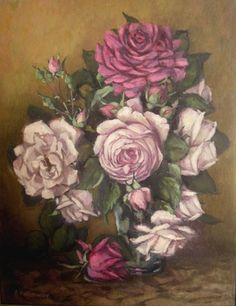 "Saatchi Online Artist Annemarie Holloway; Painting, ""Roses on marble table"" #art"