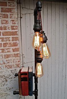 industrial floor lamp bookshelf from stellableudesigns on etsy