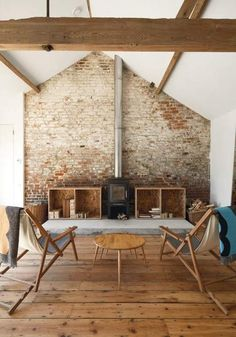 Love the beam and the brick and the floor, not so much the furnishings.