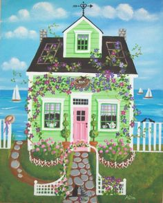 Etsy の Clematis Cottage Folk Art Print by KimsCottageArt