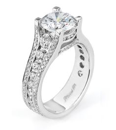 From Michael M. Collection Michael M Handcrafted channel and pave set diamond ring