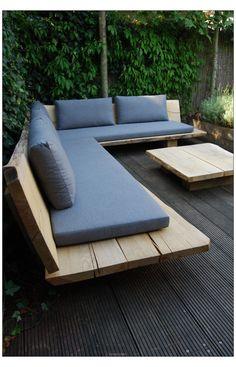 Backyard Seating, Backyard Patio Designs, Outdoor Seating, Diy Patio, Diy Garden Seating, Patio Ideas, Wood Patio, Outdoor Sectional, Built In Garden Seating