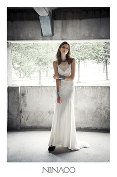White silk gown Ninaco Couture Id campaign Photographer Mikko Rasila Muah Miika Kemppainen Style Nina Hirvonen Model Maria V from Paparazzi Model Management www.ninaco.co #silk #cool #dress #gown #eveninggown