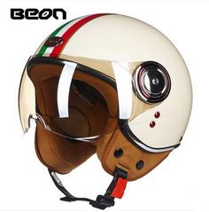 [Visit to Buy] ECE Classic  flag  BEON B-110B motocross half face Helmet, motorcycle MOTO electric bicycle safety headpiece #Advertisement