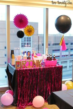 Beautiful bachelorette party at the JW Marriott in Indianapolis. Hot pink, black, and gold themed bachelorette party with tons of decorations!