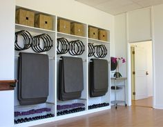 A Boutique Studio That Sculpts Muscles: Classic Pilates - Lauren Scruggs Kennedy - Is it just me, or does it seem that society is ditching much of the flair and going back to the bas - Yoga Studio Design, Gym Design, Interior Design Studio, Fitness Design, Door Design, Design Ideas, Yoga Studio Decor, Yoga Studio Home, Design Interiors