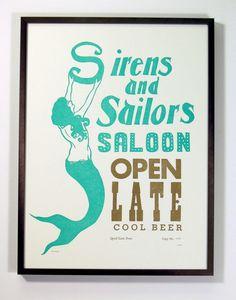 Sirens and Sailors Linocut Letterpress Poster by quaillanepress, $32.00