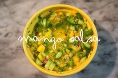 mango salsa - mango, red onion, cucumber, cilantro, and lots of lime