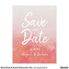 Blush Pink & Peach Watercolor Wash Save the Date Postcard - simple clear clean design style unique diy Spring Wedding, Diy Wedding, Pastel Watercolor, Save The Date Postcards, Simple Gifts, Pink Gifts, Textured Background, Blush Pink, Wedding Invitations