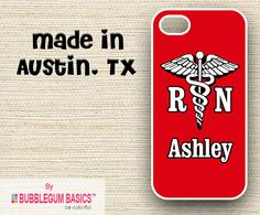 Iphone 4, Iphone Cases, Rn Nurse, Mobile Phone Cases, Samsung Galaxy S5, Monogram, Medical, Shop, Red