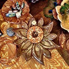 Sexy Bohemian Gypsy Pottery Ceramic Pendant Copper Necklace by California Soulshine Designs
