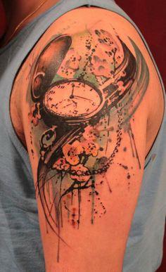 Pocket Watch Tattoo For Man