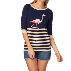 Sugarhill Boutique Flamingo Sweater Jumper - Navy/Cream/Pink.