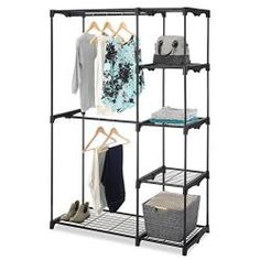 Whitmor Black Double Rod Freestanding Closet Organizer More