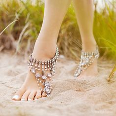 Ladies SILVER Barefoot Sandals. Sold as pair. Unique tribal footwear. Style Ancient Dance silver 'B1443' by ForeverSoles on Etsy https://www.etsy.com/listing/201358196/ladies-silver-barefoot-sandals-sold-as
