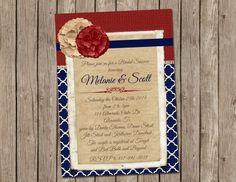 Red and Navy Wedding Invitation, Bridal Shower, Digital file, Printable on Etsy, $15.00