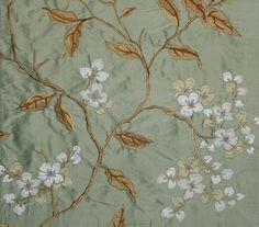 Apple Blossom Silk Curtain Fabric Beautiful aqua silk fabric embroidered with white blossom