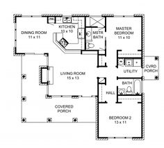 open kitchen up more, take out hallway two so its open there Country Style House Plan - 2 Beds Baths 1063 Sq/Ft Plan Floor Plan - Main Floor Plan Cottage Floor Plans, Cottage House Plans, Dream House Plans, Small House Plans, Cottage Homes, House Floor Plans, Country Style House Plans, Country Style Homes, 1000 Sq Ft House