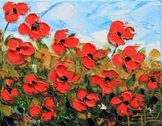 Love this oil painting from UGallery. Poppy Mayhem by Lisa Elley